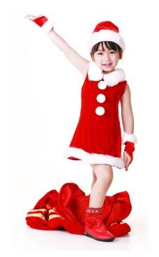 Barn Jultomten Klänning Jul Barnkostymer
