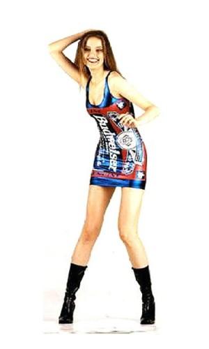 Blue Metallic Budweiser Dress Short Dresses
