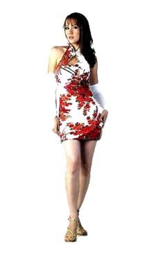 Chic Kort Vit Cheongsam Asiatiska Klänningar