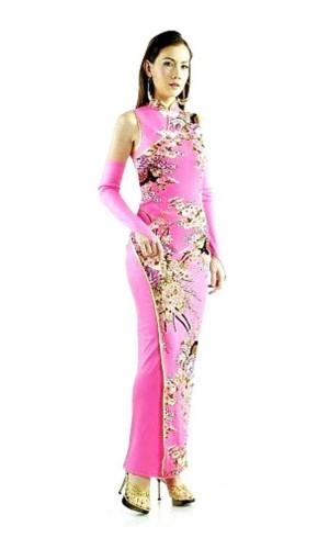 Delikat Rosa Qipao Asiatiska Klänningar