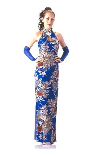 Elegant Blå Cheongsam Asiatiska Klänningar