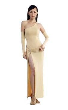 Elegant Krämfärgad Aftonklänning Långa  Klänningar