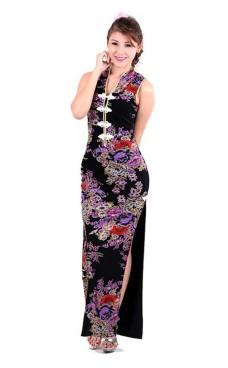 Elegant Svart Asien Klänning Asiatiska Klänningar