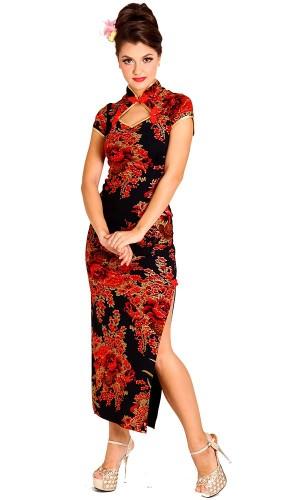 Förförisk Svart Kinesisk Klänning Asiatiska Klänningar