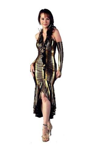 Glamorös Guld Klänning Långa  Klänningar