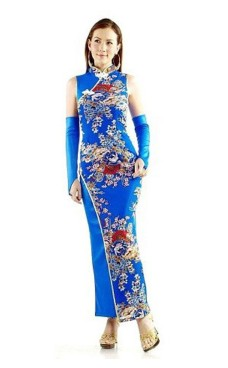 Graciös Blå Qipao Asiatiska Klänningar