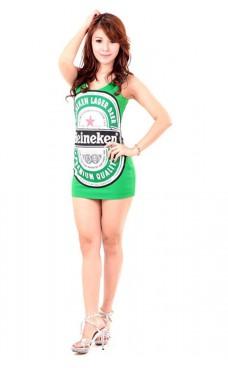 Grön Heineken Klänning Korta  Klänningar