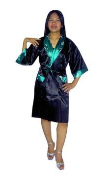 Grön Siden Morgonrock Unisex Kimono Morgonrock