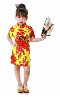 Gul Cheongsam Barnklänning Asiatiska Barnklänning