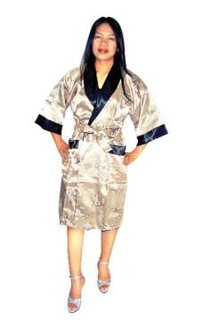Guld Siden Morgonrock Unisex Kimono Morgonrock