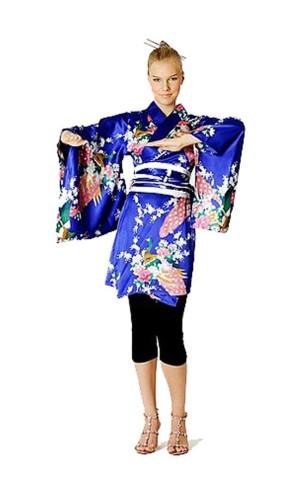 Kort Blå Kimono Klänning Kimono Klänningar