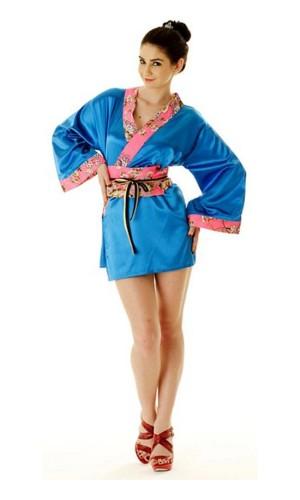 Kort Blå Yukata Klänning Kimono Klänningar