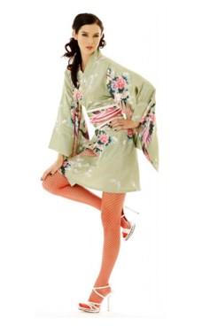 Kort Grön Kimono Klänning Kimono Klänningar