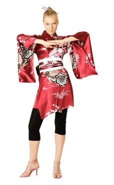 Kort Röd Kimono Klänning