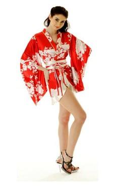 Kort Röd Yukata Klänning Kimono Klänningar