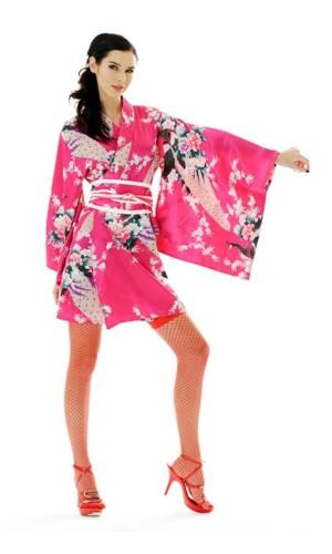 Kort Rosa Kimono Klänning Kimono Klänningar