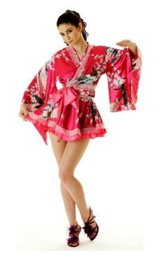 Kort Rosa Yukata Klänning Kimono Klänningar