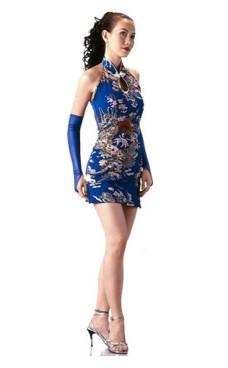 Kort Skön Blå Cheongsam Asiatiska Klänningar