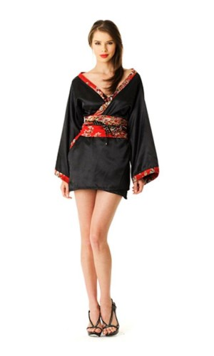 Kort Svart Kimono Kimono Klänningar