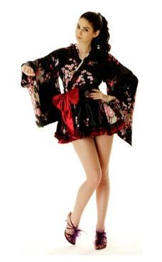 Kort Svart Yukata Kimono Klänningar