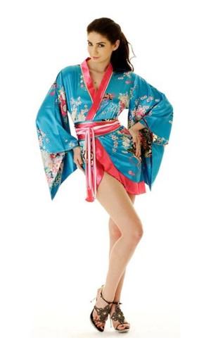 Kort Turkos Yukata Klänning Kimono Klänningar