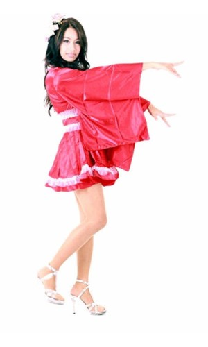 Lång T-muff Röd Kimono Kimono Klänningar