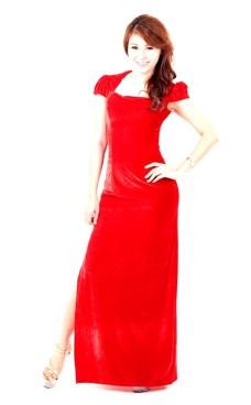 Praktfull Röd Kalas Klänning