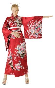 Röd Kimono Klänning