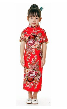 Röd Kinesisk Barnklänning Asiatiska Barnklänning