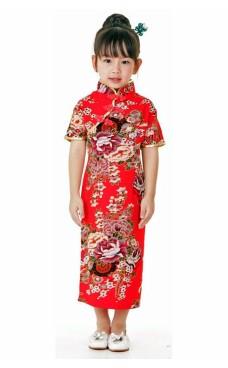 Röd Kinesisk Barnklänning