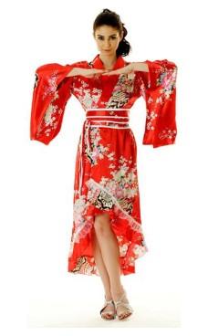 Röd Yukata Klänning Kimono Klänningar