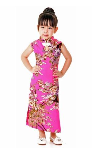 Rosa Cheongsam Barnklänning Asiatiska Barnklänning