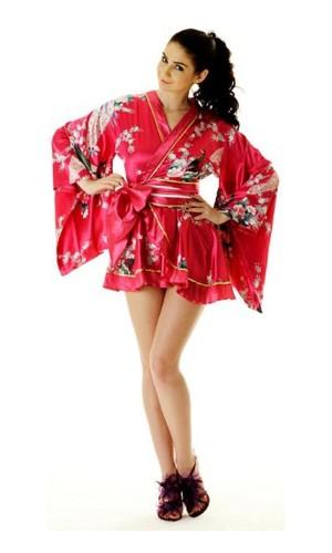 Rosa Yukata Miniklänning Kimono Klänningar