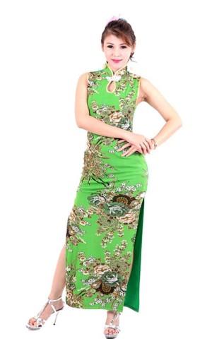 Sexig Grön Cheongsam Asiatiska Klänningar