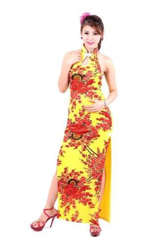 Sexig Gul Cheongsam Asiatiska Klänningar