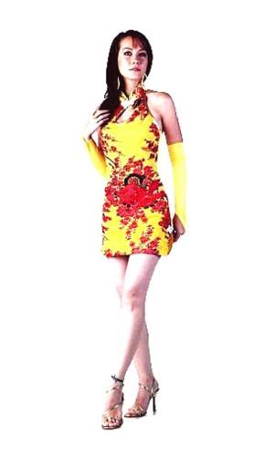Sexig Kort Gul Cheongsam Asiatiska Klänningar