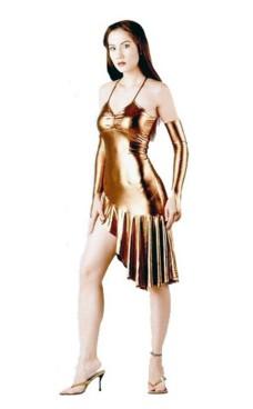 Sexig Kort Guld Klänning Korta  Klänningar