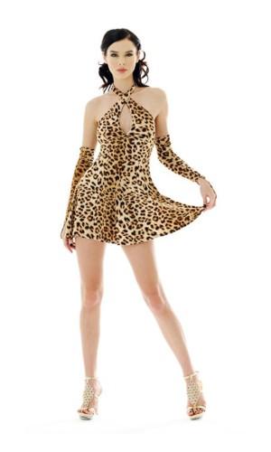 Sexig Kort Leopard Klänning Korta  Klänningar