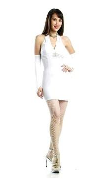 Sexig Vit Miniklänning Korta  Klänningar