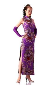 Skön Lila Cheongsam Asiatiska Klänningar