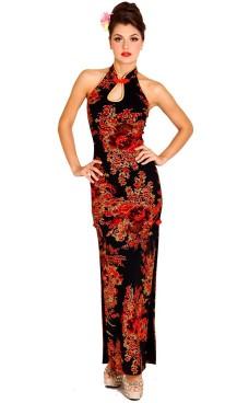 Skön Svart Cheongsam Asiatiska Klänningar