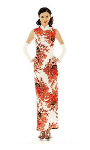 Skön Vit Cheongsam Asiatiska Klänningar