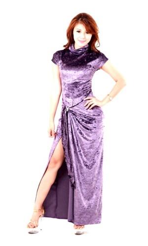 Stilig Lavendel Blå Klänning Långa  Klänningar
