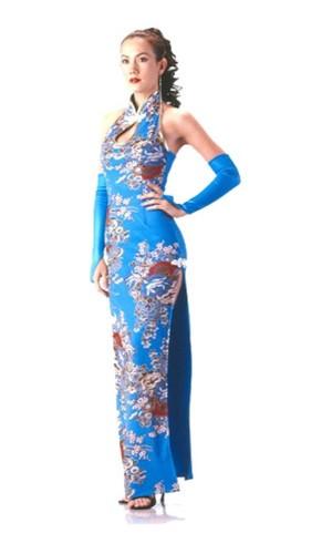 Stilig Turkos Cheongsam Asiatiska Klänningar