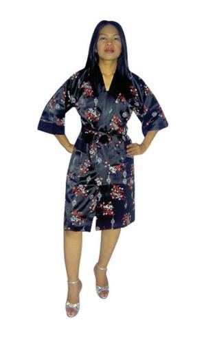 Svart Siden Morgonrock Unisex Kimono Morgonrock