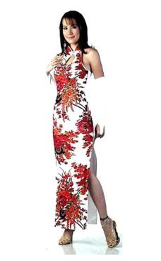 Trendig Vit Cheongsam Asiatiska Klänningar