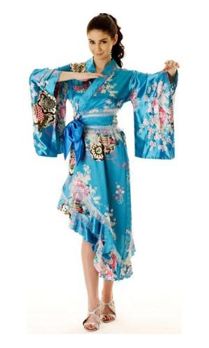 Turkos Yukata Klänning Kimono Klänningar