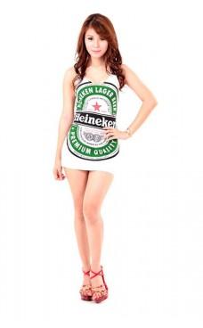 Vit Heineken Klänning Korta  Klänningar
